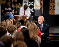 Mayor Landrieu talking with students before speach.